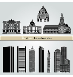 Boston landmarks and monuments vector