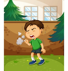 Boy smoking cigarette in the park vector image