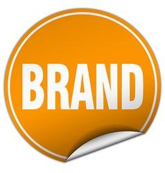 brand round orange sticker isolated on white vector image