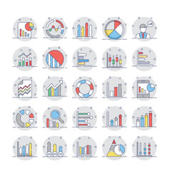 Business charts and diagrams colored icons 4 vector