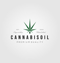 cannabis oil vintage retro logo icon design vector image