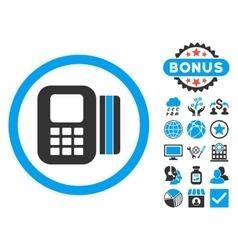 Card Processor Flat Icon with Bonus vector image