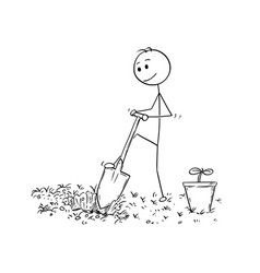Cartoon of gardener digging a hole for plant vector