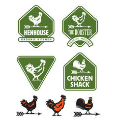 Chicken hen or rooster logos and badges vector