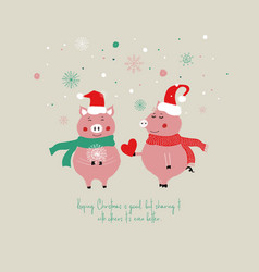 christmas card with cute pigs vector image