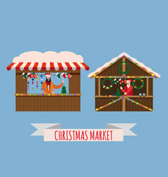 Christmas market stalls canopy seller with new vector