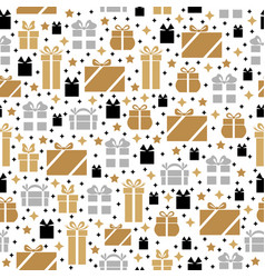 christmas pattern seamless gifts vector image