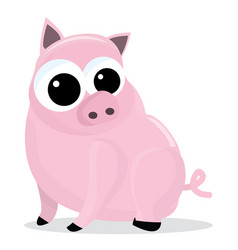 Chubby pink pig vector