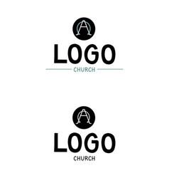 Church logo with alpha and omega vector