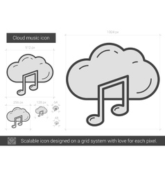 Cloud music line icon vector image