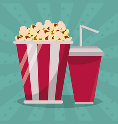 colorful background with popcorn pack and soda vector image