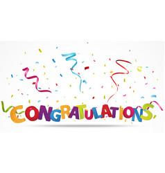 Congratulations with confetti vector
