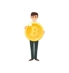 content man character holding bitcoin vector image