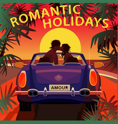 Couple kissing in cabriolet car on beach at sunset vector