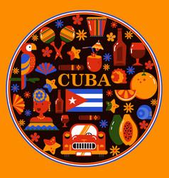Cuba havana round banner vector