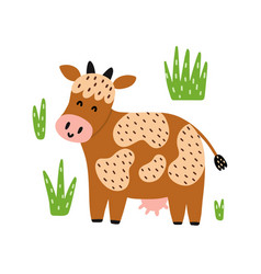 cute red cow isolated element funny farm animal vector image