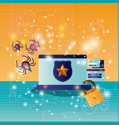 cyber security with laptop vector image