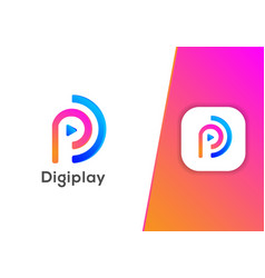 digital play media internet technology logo design vector image