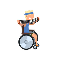 Disabled man in wheelchair exercising vector