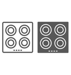 electric hot plate line and glyph icon kitchen vector image
