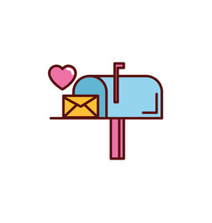 email heart message romantic passion love flat vector image