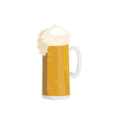 flat mug of golden beer with foam vector image