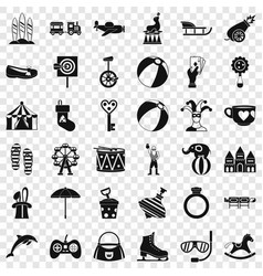 Fun circus icons set simple style vector