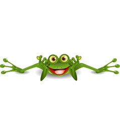 funny frog is on his stomach vector image