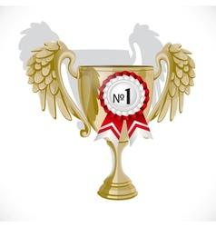 Goblet winner with rosette isolated on white vector image