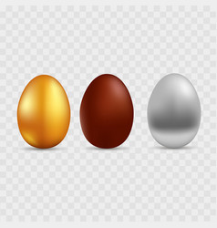 gold silver and chocolate egg vector image