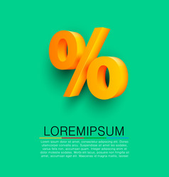 golden percent sign on green background vector image