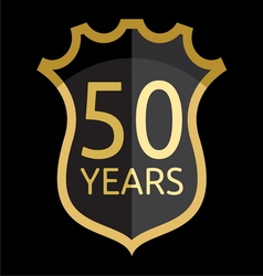 Golden shield 50 years vector image