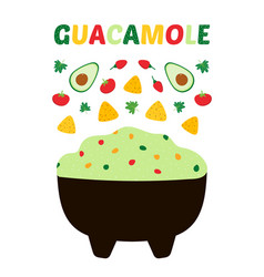 Guacamole with vegetables printable poster vector