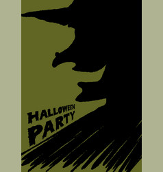 halloween party witch brush background vector image