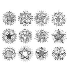 hand drawn vintage doodle stars set vector image