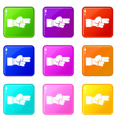 Hand showing two fingers icons 9 set vector