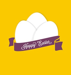 Happy Easter Set of white eggs with ribbon for vector image