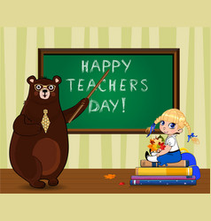 Happy teachers day greeting card with cartoon vector