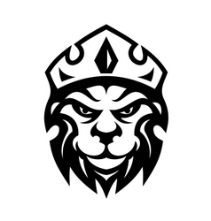 Head of a fierce crowned lion vector