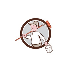 House Painter Paint Roller Can Circle Cartoon vector