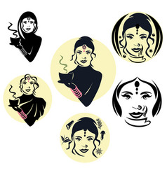 indian woman logo vector image
