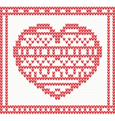 Knitted pattern with red heart vector image