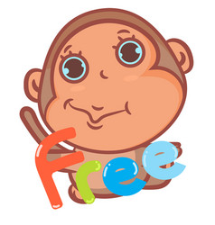 Little brown monkey with free scene vector