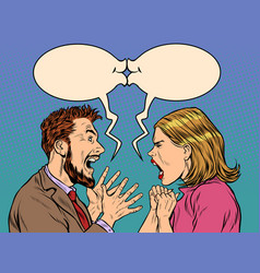 man and woman dispute emotions scream vector image