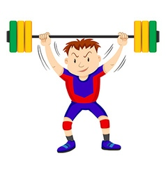Man doing weightlifting on white vector