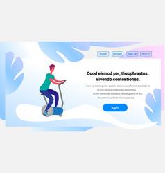 man training exercise bike riding stationary vector image