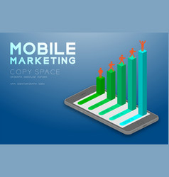 Mobile marketing concept pictogram man icon red vector