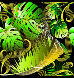 modern abstract green palm leaves seamless vector image