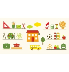 Multicolored school objects set vector image