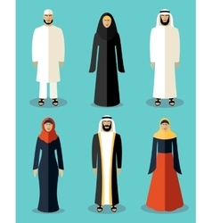 Muslim people flat icons vector